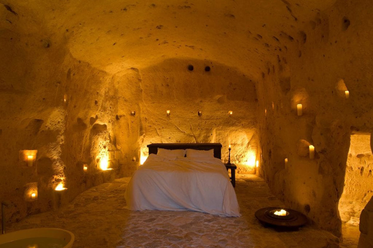 Designhotel Sextantio Le Grotte Della Civita: Schlafen in einer Höhle. Luxusreisen