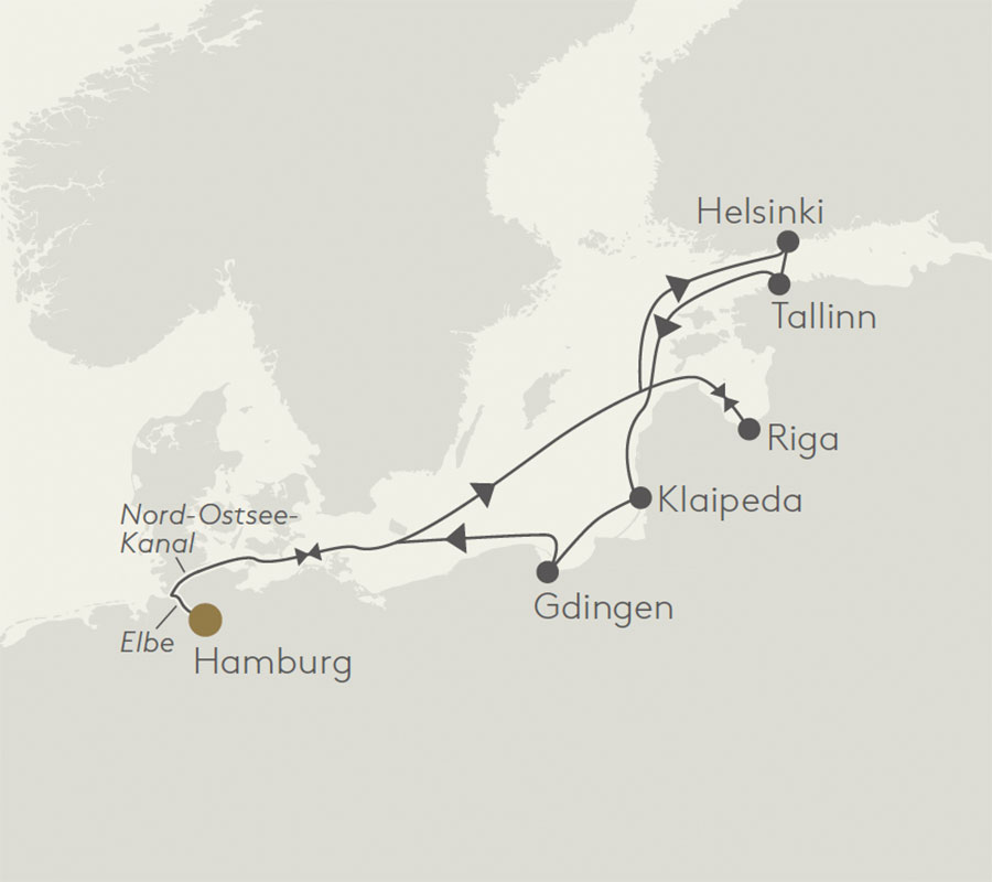 Karte Nordeuropa. Luxusreise