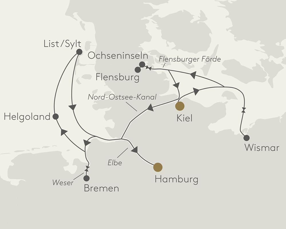 Route Norden Deutschlands. Luxusreisen