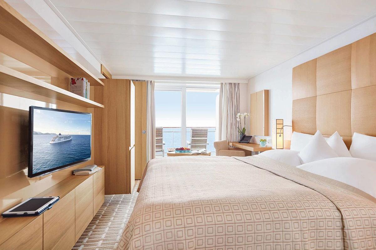 MS Europa 2: Kabine. Luxusreise